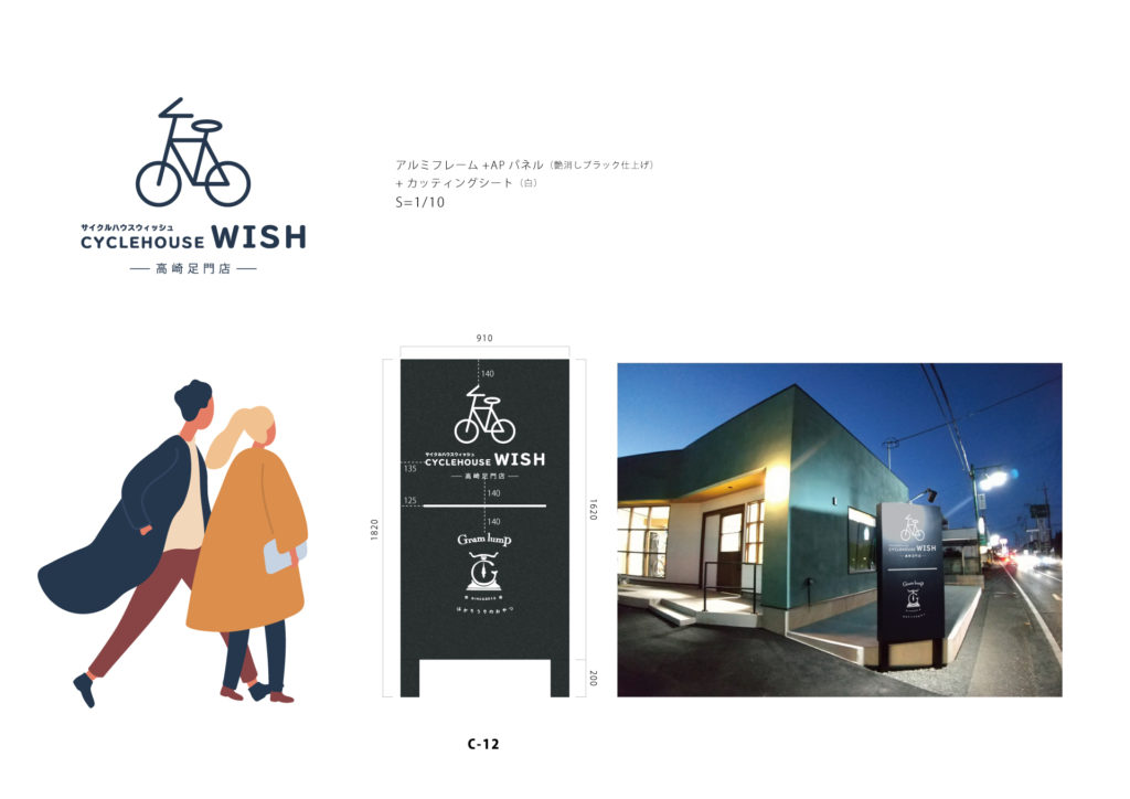 サイクルハウスWISH看板デザイン図